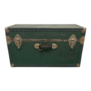 1970s Green Vintage Metal Trunk For Sale