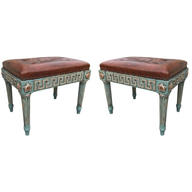 Metal Pair of Neoclassical Painted Stools With Greek Key For Sale - Image 7 of 7