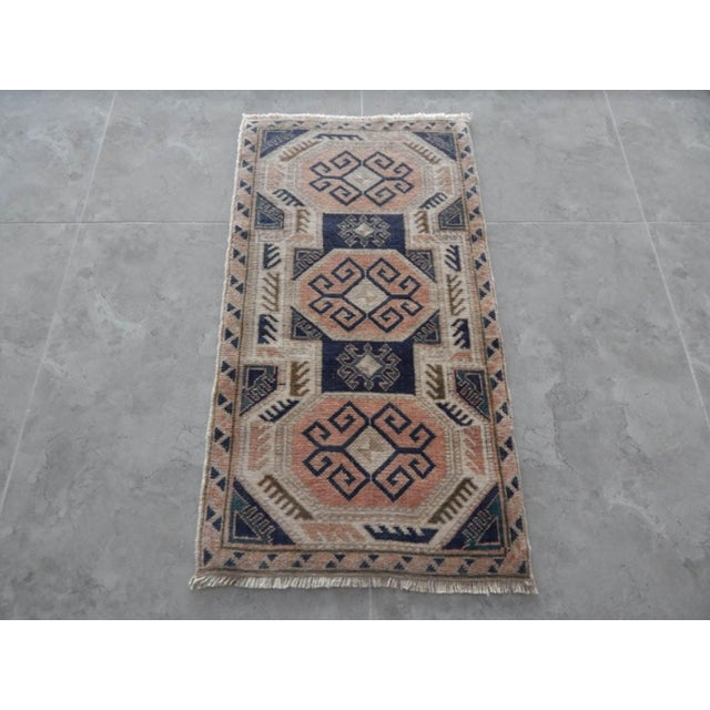 Vintage Distressed Miniature Oushak Rug 20.8'' X 38.1'' / 53x97cm Hand woven with high quality pure wool Excellent...