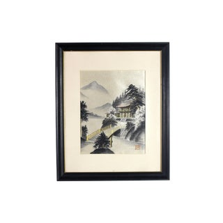 Framed Early 1900's Japanese Pagoda Pictorial Entirely Hand Embroidered Silk, Signed For Sale