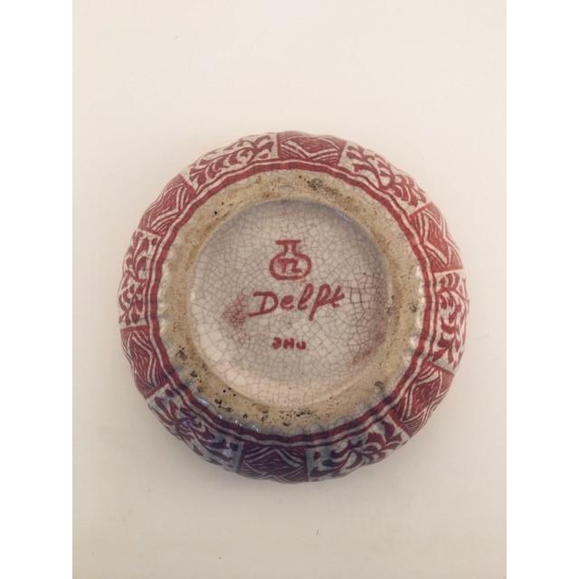 Ceramic 1950s Delft Red & White Lidded Bowl For Sale - Image 7 of 9