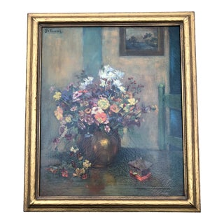 Antique Circa 1930's Interior Still Life Painting Listed Grace Evans For Sale