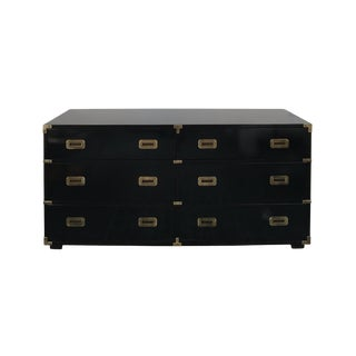 Black Lacquer Campaign Dresser Chest of Drawers For Sale