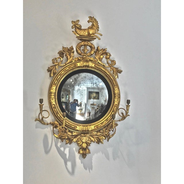 Rare Pair of Regency Convex or Bullseye Mirrors --Original Gilding Being Conserved and restored at the moment. Original...