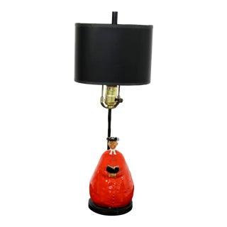 1950s Italian Mid Century Modern Abbot Monk Form Red & Black Ceramic Lamp For Sale