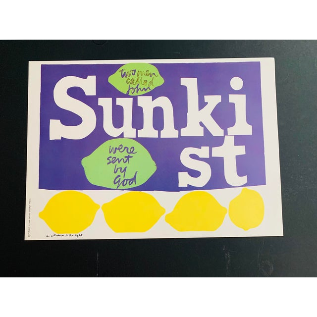 Paper 1960s Vintage Sister Mary Corita Kent as Witnesses to the Light Sunkist Lemon Print For Sale - Image 7 of 9
