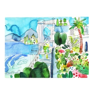 Premium Giclee Print Of watercolor Mediterranean day. For Sale