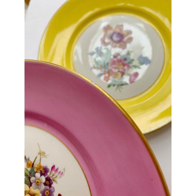 Metal Vintage Richard Ginori Italy, Multicolored Porcelain Salad / Dessert Plates, Flower Patterns , Set of 5 For Sale - Image 7 of 13