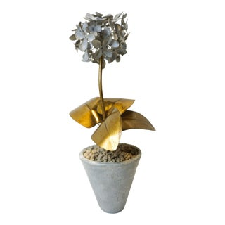 Signed and Handpainted Tommy Mitchell Hydrangea in Gold and Zinc Finish