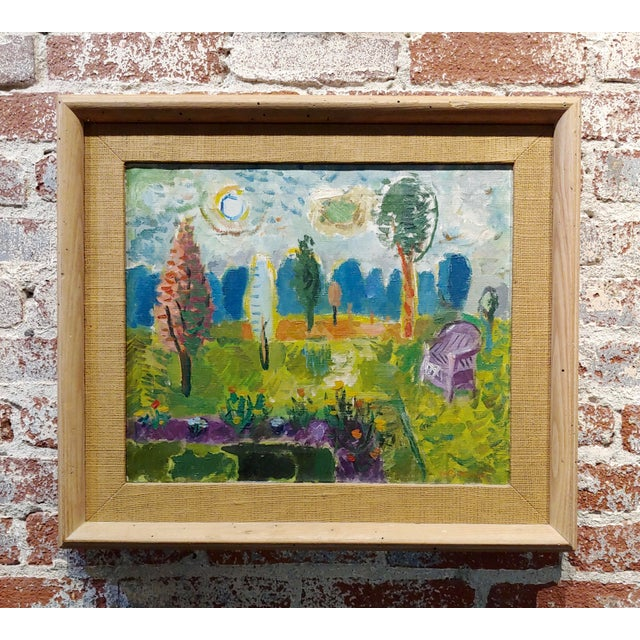 Abbott Pattison -The Purple Chair in a Garden Landscape - Oil Painting For Sale - Image 10 of 10