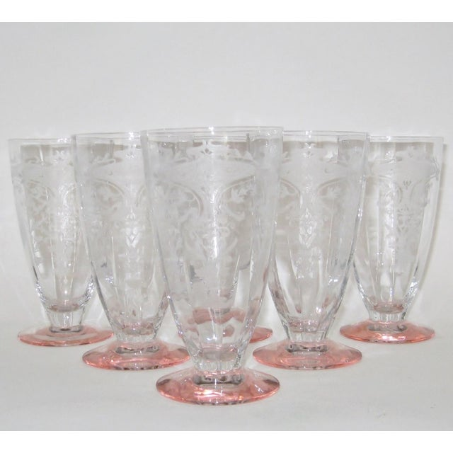 Vintage Etched Glasses, Set of 6 For Sale In Los Angeles - Image 6 of 6
