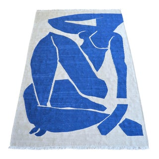 Henri Matisse - Blue Nude 3- Inspired Silk Hand Woven Area - Wall Rug 4′5″ × 6′9″ For Sale