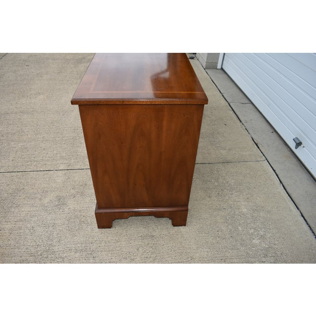 Chippendale 18th Century Henredon Walnut Chippendale Portfolio 8 Drawer Double Dresser For Sale - Image 3 of 12