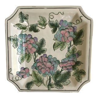 Vintage Porcelain Gold Edged Tray With Grape Clusters by Andrea Sadek For Sale