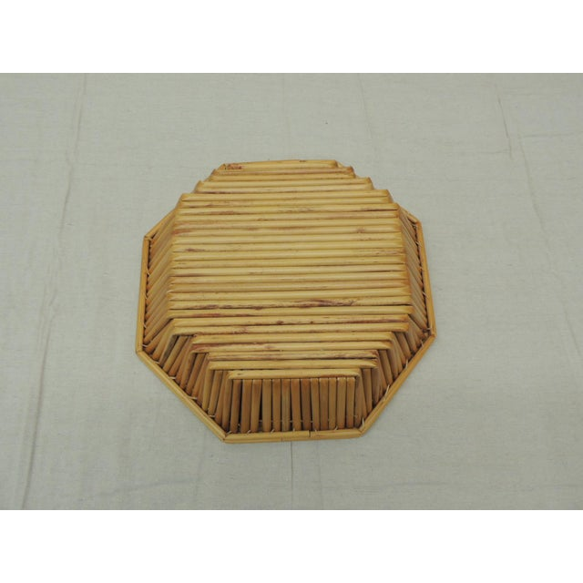 Late 20th Century Hexagonal Vintage Bamboo Fruit Bowl or Serving Basket For Sale - Image 5 of 6