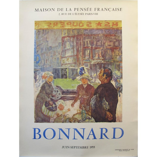 1955 Original French Exhibition Poster, Bonnard For Sale