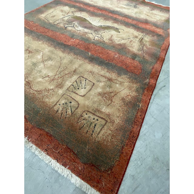 "Abstract Vintage Karastan ""Lascaux - Paleolithic Cave Drawing"" Wool Rug C.1980s For Sale - Image 3 of 11"