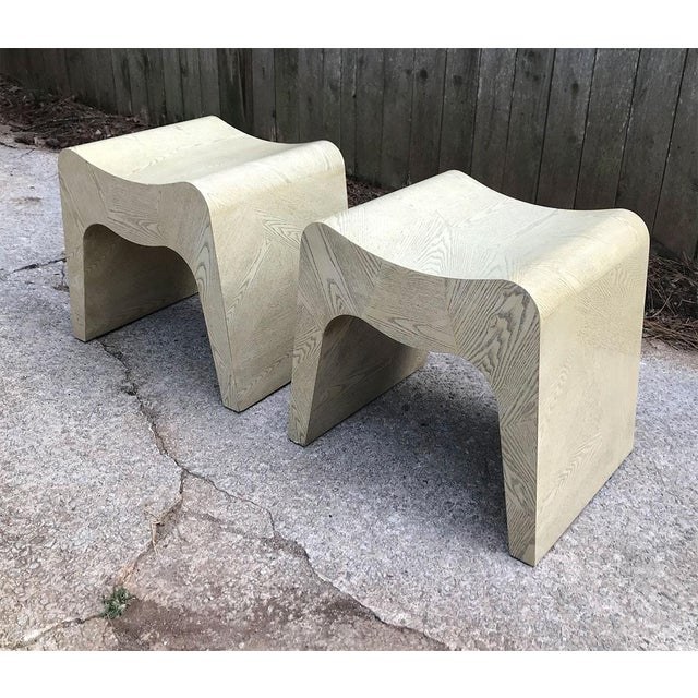 Boho Chic Curvilinear 1980s Stools — a Pair For Sale - Image 3 of 11