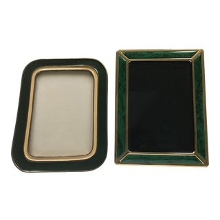 1970s Mid-Century Modern Green and Gold Metal Picture Frames - a Pair