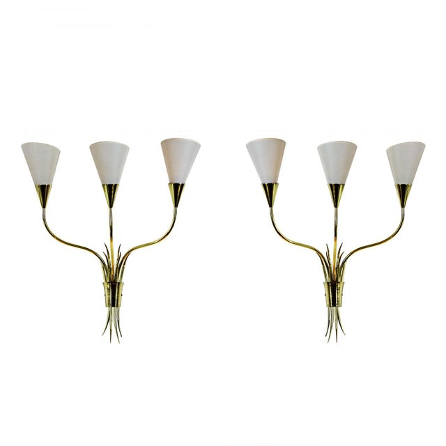 1955-1960 Pair of Wall Lights, Polished Brass, Celluloid Lampshades - France For Sale - Image 6 of 6