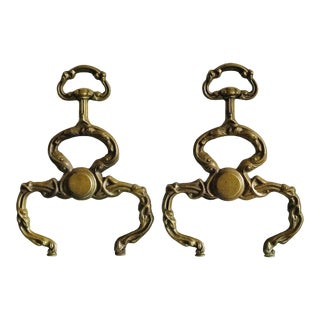Art Nouveau Brass Andirons - a Pair For Sale