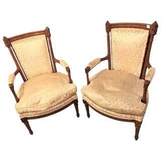 Pair of Louis XVI Style Bergere Chairs or Armchairs For Sale