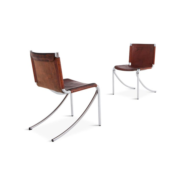 Giotto Stoppino Patinated Red Leather and Chrome Vintage Dining Chairs Model Jot for Acerbis For Sale - Image 10 of 11