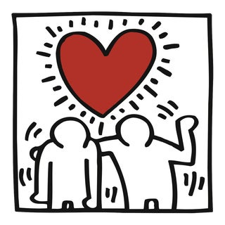 Untitled (Two Figures w/Heart), Giclee Print, Keith Haring For Sale