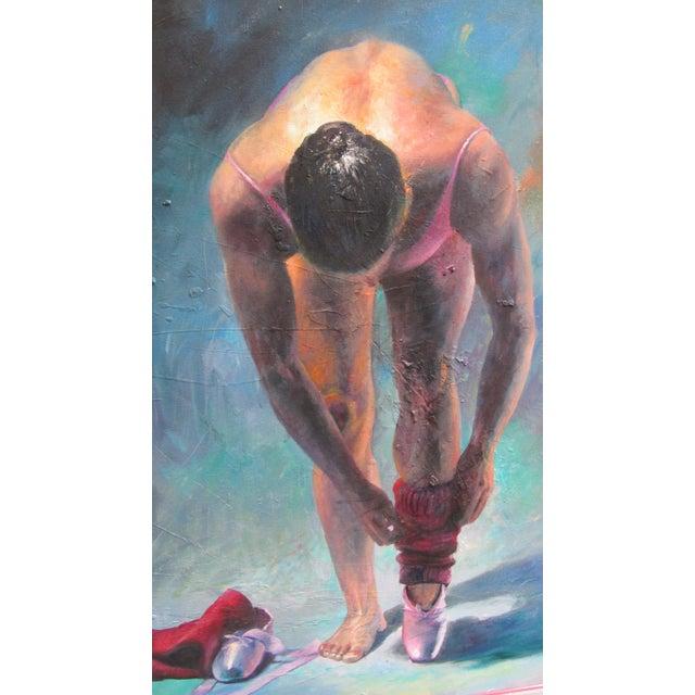 "Beautiful, rich hued large portrait titled ""La Ballerina #2 by Roman artist, Dario Campanile (Born 1948). Signed in the..."
