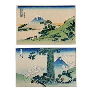 Post WWll Ukiyo-E Minature Woodblock Prints: 36 Views of Fuji, Japan by Katsushika Hokusai - a Pair For Sale