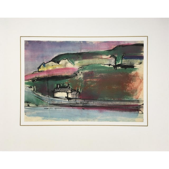 This richly-hued landscape, beautifully combining watercolor, pastel, and ink, is one in a series by avant-garde British...