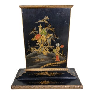 Circa 1900 Chinese Gilded Enamel Painted Lacquered Wood Table Screen For Sale