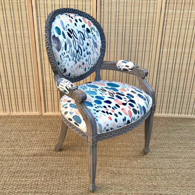 Blue Louis XVI Grey Chair For Sale - Image 8 of 8
