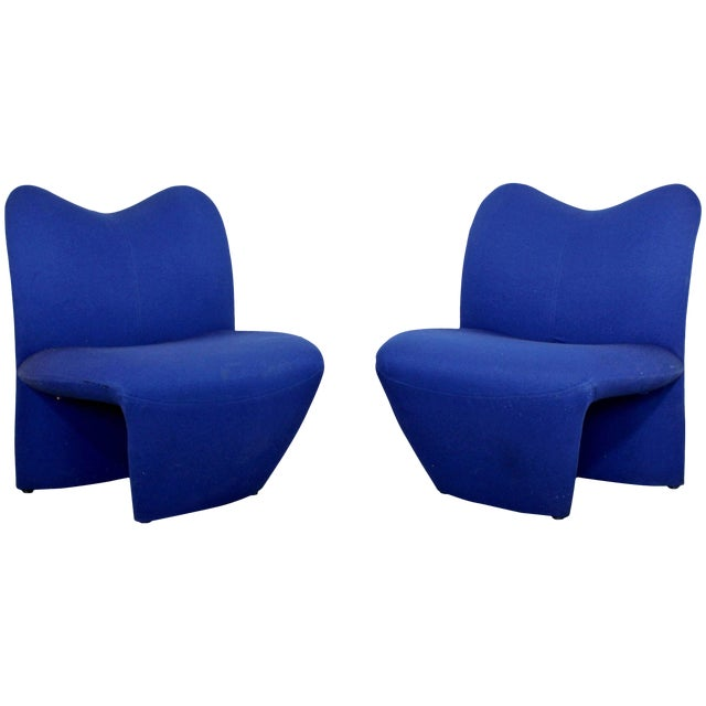 Mid-Century Modern Pair of Sculpted Accent Chairs Paulin Panton Style Italian For Sale