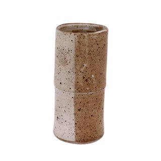 Boho Chic Tan and Cream Ceramic Vase