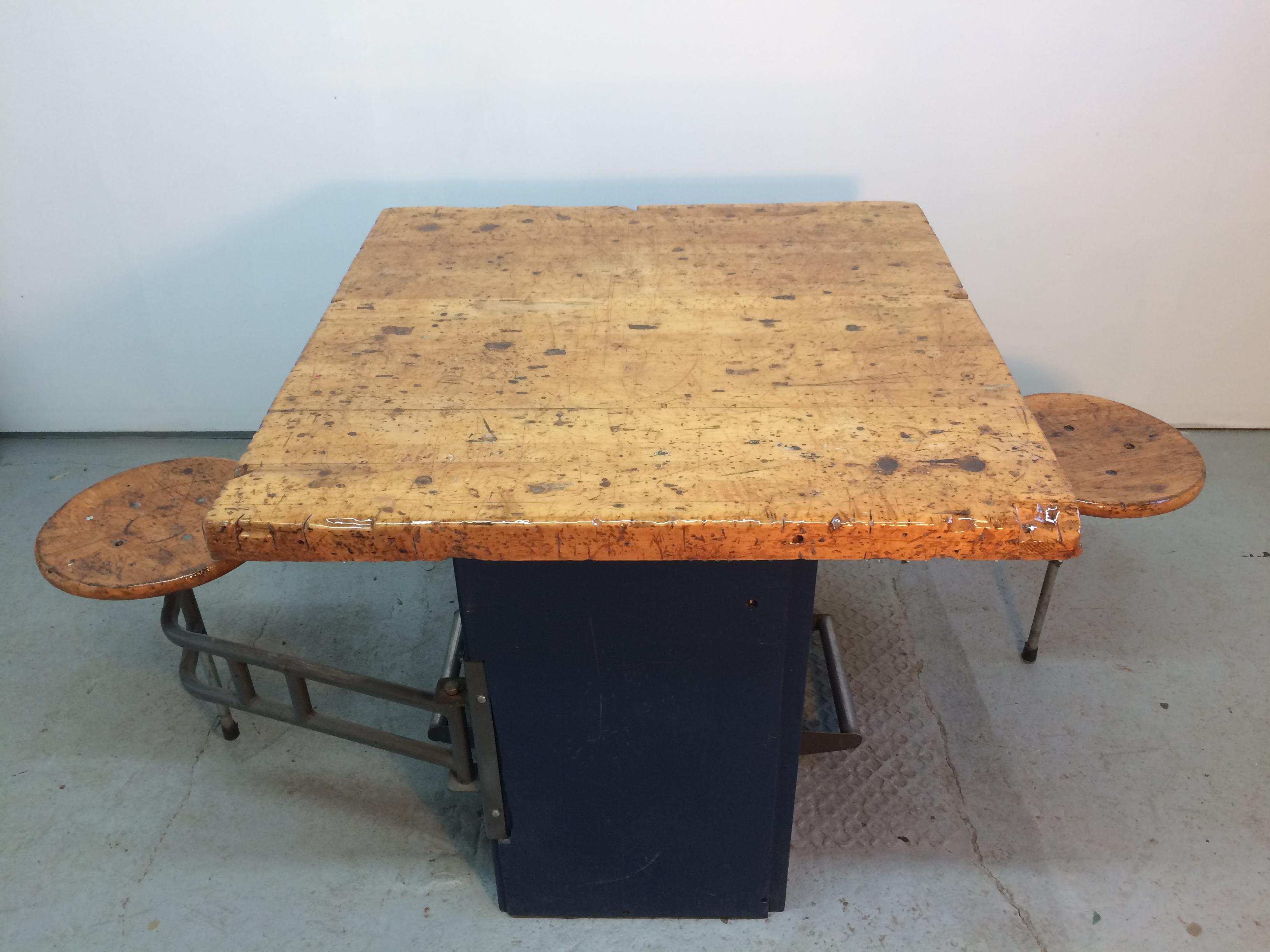 Industrial Swing Out Stool Butcher Block Table   Image 5 Of 11