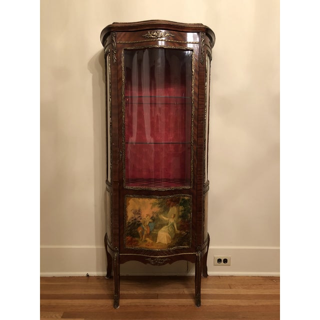 1910s French King Louis Vernis Martin Curio Cabinet Vitrine Display Case For Sale - Image 9 of 9