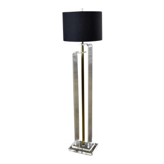 Art Deco Revival Hollywood Regency Lucite and Brass Plate Floor Lamp For Sale