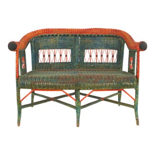 French Victorian Green and Red Wicker Loveseat For Sale