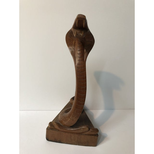 Hand Carved Wooden Cobra Statue For Sale - Image 4 of 6