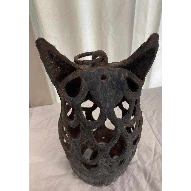 Vintage Japanese Black Iron Owl Lantern For Sale - Image 4 of 12