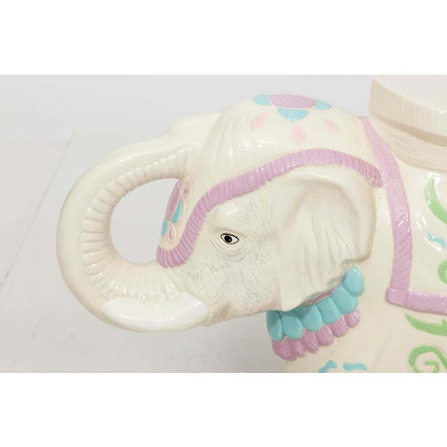 Hollywood Regency Ceramic Elephant Garden Stool or Side Table For Sale - Image 4 of 11
