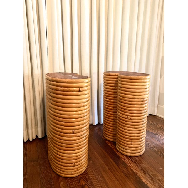 This pair of bamboo table bases are reminiscent of Gabriella Crespi. Perfect for a dining table, desk or console table....