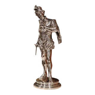 """19th Century French Silver Plated Bronze Statue """"Le Duel"""" Signed p.e. Detrier"""