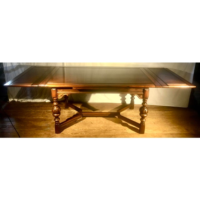 """1920s 62""""-96"""" Jacobean Dining Table With Breadboard Extensions For Sale - Image 5 of 12"""