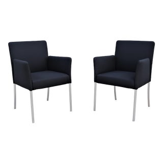 Modern Coalesse and Steelcase Black Switch Arm Chairs Design Eoos Germany - a Pair For Sale