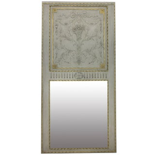 Large French Painted Trumeau Mirror