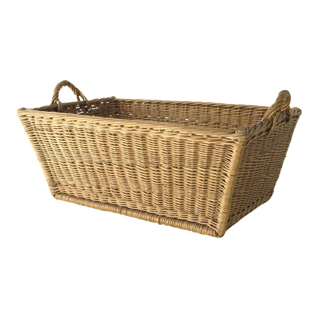 Vintage French Laundry Basket For Sale