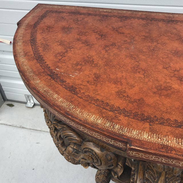 Maitland Smith Leather Top Console Table For Sale - Image 11 of 13