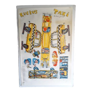 Red Grooms Ruckus Taxi 5-Color Lithograph For Sale